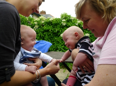 Their first smile to each other- a magical moment shared with dear friends